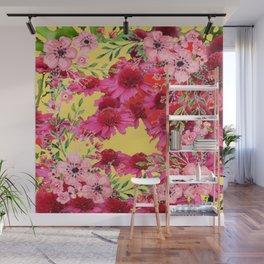 FUCHSIA-PINK FLOWERS YELLOW ART PATTERNS Wall Mural