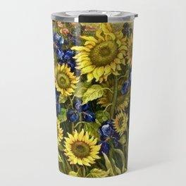 Sunflowers & Blue Irises by Vincent van Gogh Travel Mug