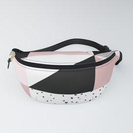Geometrical pink black gray watercolor polka dots color block Fanny Pack