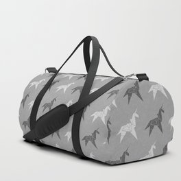 Origami Unicorn Grey Duffle Bag