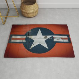 Aircraft Roundel US Air Force Insignia on Orange Airframe Rug
