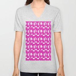 Pink Polka Dot Unisex V-Neck