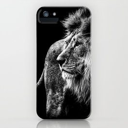 Lion Portrait in black and white iPhone Case