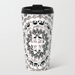 Metallic White Floral Mandala on Black Background Travel Mug