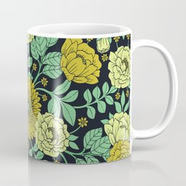 Seafoam Green, Chartreuse, Mustard Yellow & Navy Blue Floral Pattern Coffee Mug