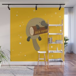 """""""Duck puppy"""" platypus with a log (yellow) Wall Mural"""