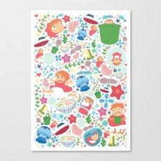 Ponyo Pattern - Studio Ghibli Canvas Print