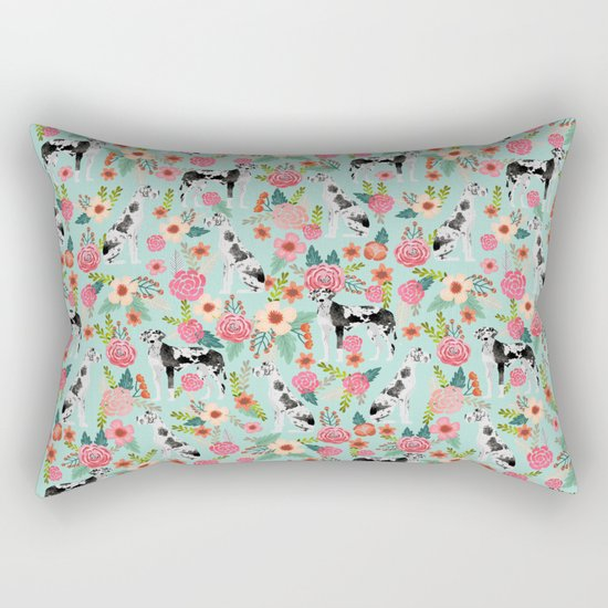 Great Dane dog breed florals mint pattern print for dog owner with great dane must have gifts Rectangular Pillow