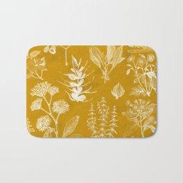Yellow Mustard Vintage Floral Bath Mat