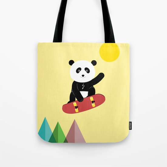 Panda on a skateboard Tote Bag
