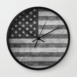 Stars and Sripes in retro style grayscale Wall Clock