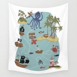Pirate Treasure Map Wall Tapestry