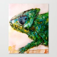 chameleon Canvas Prints featuring chameleon by Kay Weber