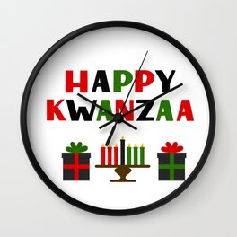 Happy Kwanzaa hand lettering. African American festival. Wall Clock
