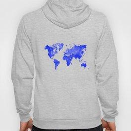 Blue watercolor world map Hoody