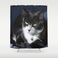 kitty Shower Curtains featuring Kitty by Imagevixen