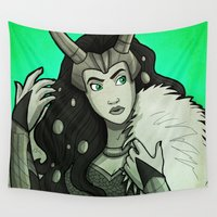loki Wall Tapestries featuring Lady Loki by Miss-Lys