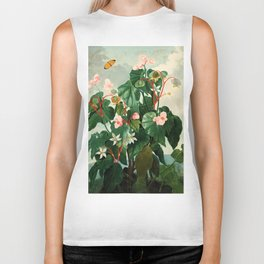 Pink Floral The Oblique-Leaved Begonias : Temple of Flora Biker Tank