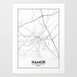Minimal City Maps - Map Of Namur, Belgium. Art Print