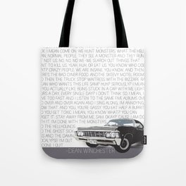 We Hunt Monsters: Supernatural Tote Bag