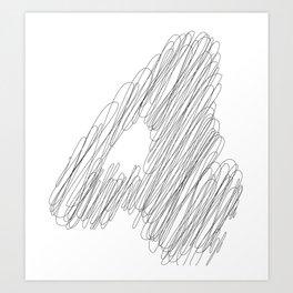 """ Cloud Collection "" - Minimal Number Four Print Art Print"