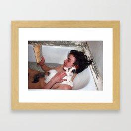 Cat in bathroom Framed Art Print