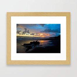 Sunset at Dominical Beach Framed Art Print