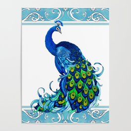 Decorative Blue Peacock Poster