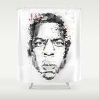 jay z Shower Curtains featuring Jay Z by I AM DIMITRI