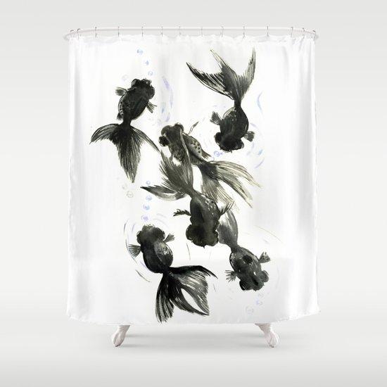 Koi Black Moor Feng Shui Art C Shower Curtain By