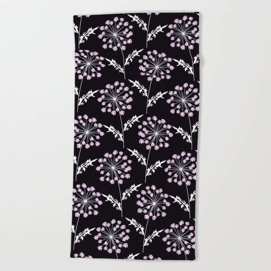 Fishnet pink flowers on a black background. Beach Towel