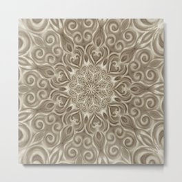 Beige swirl mandala Metal Print