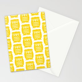 Mid Century Owl Pattern Yellow Stationery Cards