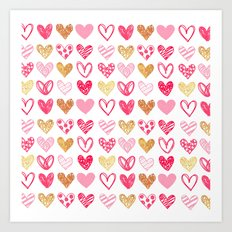 Doodle Hearts Art Print