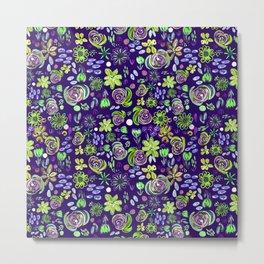 flory night pattern design (Neon) Metal Print