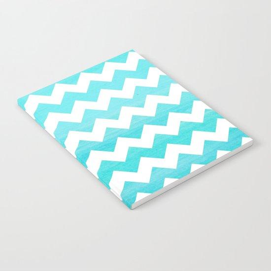 Aqua chevron - watercolor on white pattern Notebook