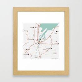 Minimalist Modern Map of Belfast, North Ireland 4 Framed Art Print