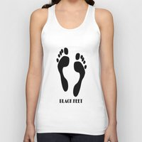 feet Tank Tops featuring Black Feet by Art-Motiva