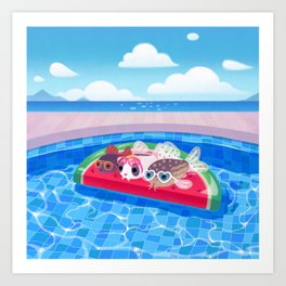 Cory cats in the swimming pool Art Print