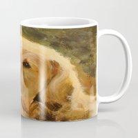 golden retriever Mugs featuring Golden Retriever by Tidwell