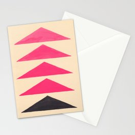 Colorful Pink Geometric Triangle Pattern With Black Accent Stationery Cards