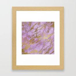 Lavender Gold Marble Framed Art Print