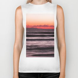 Sunset Purple Pink Beach Ocean Wave Seascape Scenic Colored Wall Art Lustre Print Biker Tank