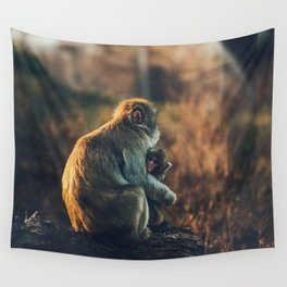 Macaque Motherly Love Wall Tapestry