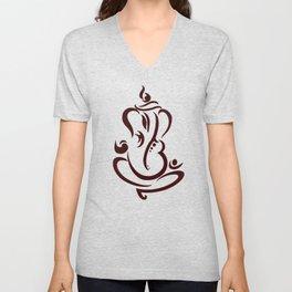 Elegant Line Art Lord Ganesha  Unisex V-Neck
