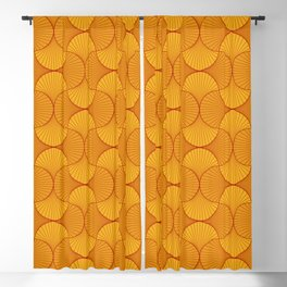 Happy Orange Retro Flowers Abstract Blackout Curtain