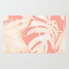 Tropical Coral Pink Palm Leaf Pattern Rug