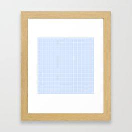 Powder Blue and White Grid Pattern Framed Art Print