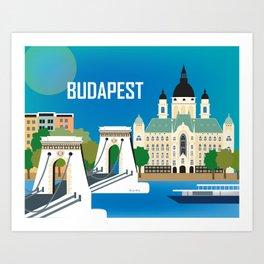 Budapest, Hungary - Skyline Illustration by Loose Petals Art Print