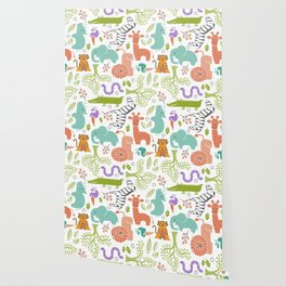 Zoo Pattern in Soft Colors Wallpaper